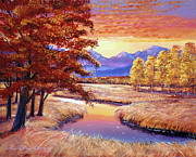 Cottonwood Paintings - Montana Sunset by  David Lloyd Glover