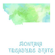 Montana State Map Metal Prints - Montana - Treasure State - Map - State Phrase - Geology Metal Print by Andee Photography