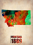 Map Art Mixed Media Prints - Montana Watercolor Map Print by Irina  March