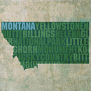 Country Art Mixed Media Posters - Montana Word Art State Map on Canvas Poster by Design Turnpike