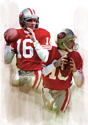 Quarterback Paintings - Montanna  II  Joe Montanna  by Iconic Images Art Gallery David Pucciarelli