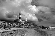 York Beach Prints - MONTAUK BLACk AND WHITE Print by Skip Willits