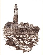 Landscape Greeting Cards Drawings Framed Prints - Montauk Lighthouse Long Island  N Y Framed Print by Carol Wisniewski