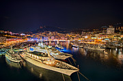 Marina Night Framed Prints - Monte Carlo Harbor Framed Print by John Greim