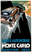 Rally Drawings Posters - Monte Carlo - Vintage Poster Poster by World Art Prints And Designs