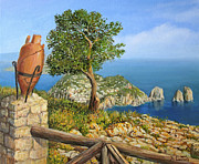 Naples Paintings - Monte Solaro on island Capri by Kiril Stanchev