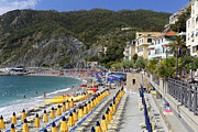 Beach Activities Framed Prints - Monterosso Al Mare Cinque Terrre Framed Print by George Oze