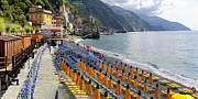 Beach Activities Prints - Monterosso Beach Summer Morning Print by George Oze