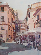 Cafe Umbrellas Posters - Monterosso Cafe Poster by Jenny Armitage