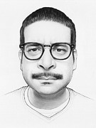 Pencil Portrait Drawings Prints - Montez - Workaholics Print by Olga Shvartsur