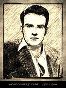 Montgomery Drawings Prints - Montgomery Clift Print by George Rossidis