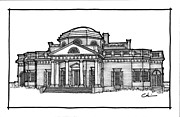 Thomas Jefferson Drawings Prints - Monticello Print by Calvin Durham