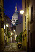 Streetlight Photo Framed Prints - Montmartre Street and Sacre Coeur Framed Print by Inge Johnsson