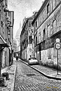 Brick Street Posters - Montmartre Street - Black and White Poster by Chuck Staley