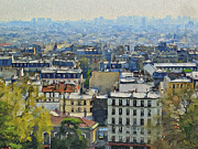 Old Town Digital Art Framed Prints - Montmartre View Framed Print by Yury Malkov