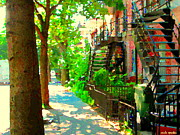 Montreal Art Colorful Winding Staircase Scenes Tree Lined Streets Of Verdun Art By Carole Spandau Print by Carole Spandau