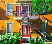 Montreal Memories. Framed Prints - Montreal Art Seeing Red Verdun Wooden Doors And Fire Hydrant Triplex City Scene Carole Spandau Framed Print by Carole Spandau