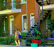 Montreal Memories. Art - Montreal Art Summer Stroll By Blue Winding Staircase Verdun Homes Balcony Scene Carole Spandau by Carole Spandau