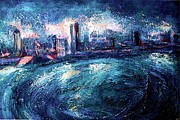Riviere Painting Prints - Montreal at Night Print by Ion vincent DAnu