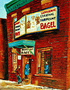 Store Fronts Framed Prints - Montreal Bagel Factory Famous Brick Building On Fairmount Street Vintage Paintings Of Montreal  Framed Print by Carole Spandau