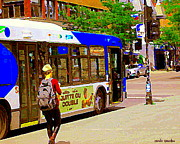 Montreal Cityscenes Paintings - Montreal Bus Scenes Catching The 97 Bus Pontiac Corner Mont Royal Urban Montreal Art Carole Spandau by Carole Spandau