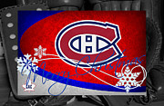 Montreal Hockey Prints - Montreal Canadiens Christmas Print by Joe Hamilton