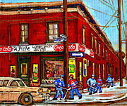 Kids Playing Hockey Paintings - Montreal Depanneur Epicerie Boucherie Coca Cola South West Montreal Winter Pantings Hockey Art  by Carole Spandau