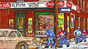 Hockey Winter Classic Framed Prints - Montreal Hockey Paintings At The Corner Depanneur - Piches Grocery Goosevillage Psc Griffintown  Framed Print by Carole Spandau