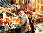 Point St. Charles Paintings - Montreal Market Scene Marche Atwater by Carole Spandau