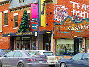 Montreal Memories Art - Montreal Memories Moishes Restaurant Main  Street Famous Steaks Colorful Winter Scene Carole Spandau by Carole Spandau