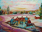 Hockey Rinks Paintings - Montreal Memories Pond Hockey Countryside Winter Art In Laurentians Carole Spandau Paintings by Carole Spandau