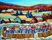 Winter Sports Paintings - Montreal Memories Rink Hockey In The Country Hockey Our National Pastime Carole Spandau Paintings by Carole Spandau