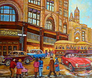 Montreal Memories. Framed Prints - Montreal Memories-streetcars-morgans Department Store At St.catherine And Union Framed Print by Carole Spandau