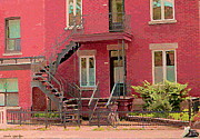 Streetscenes Paintings - Montreal Memories The Old Neighborhood Timeless Triplex With Spiral Staircase City Scene C Spandau  by Carole Spandau