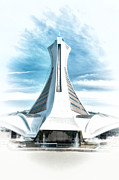 1976 Paintings - Montreal Olympic Stadium by Boris Mordukhayev