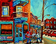 Hockey In Montreal Paintings - Montreal Paintings Hockey Near Wilensky Doorway Montreal Winter City Scene Carole Spandau by Carole Spandau