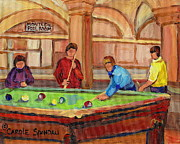 Greasy Spoon Restaurants Paintings - Montreal Pool Room by Carole Spandau