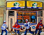 Outdoor Cafes Posters - Montreal Pool Room City Scene With Hockey Poster by Carole Spandau