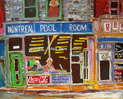 Store Fronts Paintings - Montreal Pool Room by Michael Litvack