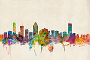 Urban Watercolor Digital Art Prints - Montreal Skyline Print by Michael Tompsett