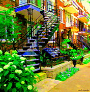 Staircase Paintings - Montreal Staircases Verdun Stairs Duplex Flower Gardens Summer City Scenes Carole Spandau by Carole Spandau