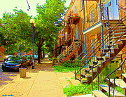 Montreal Streets Paintings - Montreal Stairs Winding Staircases And Sunny Tree Lined Sidewalks Verdun Scenes Carole Spandau  by Carole Spandau