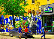 European Cafes Prints - Montreal Street Art Murals Festival Painted Graffiti Tags Plein Air Entrepot Mont Royal C Spandau Print by Carole Spandau