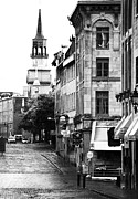 Quebec Places Prints - Montreal Street in Black and White Print by John Rizzuto