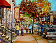 Cafes Painting Posters - Montreal Streetscenes By Cityscene Artist Carole Spandau Over 500 Montreal Canvas Prints To Choose  Poster by Carole Spandau