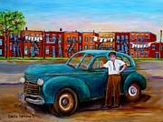 Montreal Taxi Driver 1940 Cab Vintage Car Montreal Memories Row Houses City Scenes Carole Spandau Print by Carole Spandau