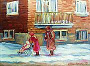 Baby Carriage Paintings - Montreal Winter Scenes by Carole Spandau
