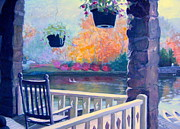 Fall Colors Pastels Posters - Montreat Porch Poster by Gretchen Allen
