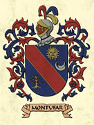 Military Families Framed Prints - Montufar Coat of Arms Original Art Framed Print by Arco Montufar