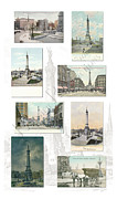Businesses Mixed Media Prints - Monument Circle collage Indianapolis Indiana Print by Thomas Keesling